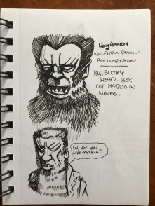 Quick pen sketches of the Roy Ashton Wolfman makeup