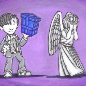 """""""Angel Gets a Blue Box,"""" acrylic"""