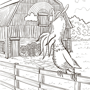 """""""The Lone Rooster,"""" Digital inks"""